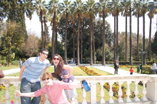 Alex, Ben, and Dallis in the national gardens.
