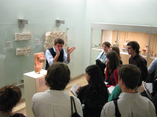 Dr. Scott delivers a lively lecture on archaic sculpture (and security promptly reprimands Joe for standing on a bench).