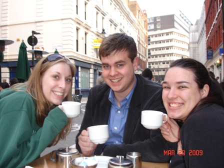 KT, Charlie, and Dallis enjoying English tea at café not far from the hostel on Friday.