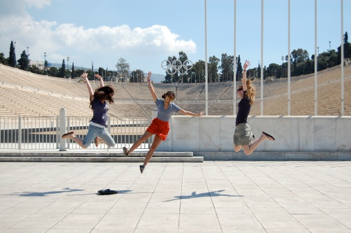 Dallis, Alex M. and KT gleefully experience the Panhellenic stadium.