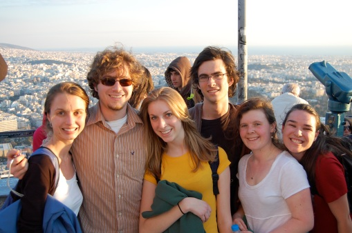 Kathryn, Alex, KT, Jason, Ally, and Dallis on top of Lykavittos hill in Athens