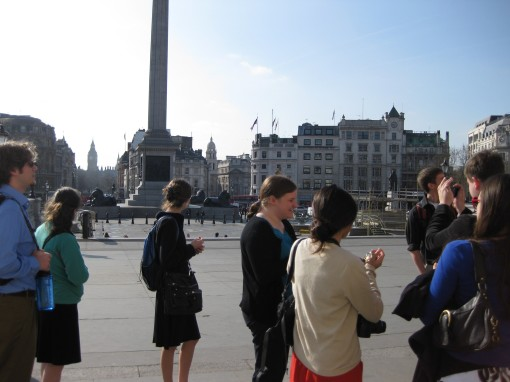 Students in Trafalgar square before heading into the National Gallery