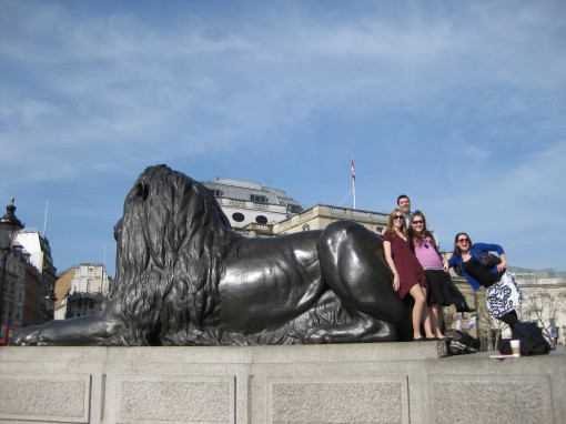 Spending some quality time with the guardian lions at Trafalgar Square