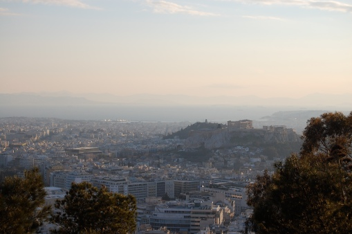 Panoramic view of Athens from atop Lykavittos