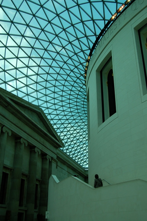 A misleadingly bright English morning seen through the windowed ceiling of the British Museum.