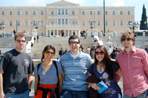 Chris, Alex M., Ben, Kait, and Alex A. in front of the Athenian Parliament building.