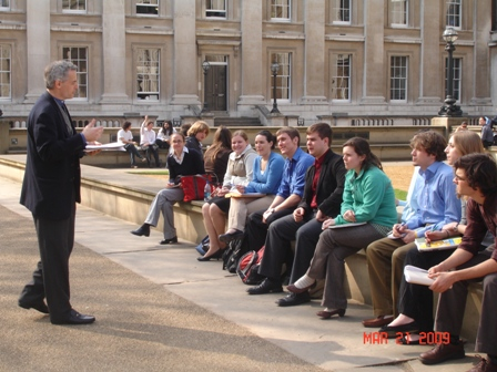 Professor Christensen giving opening remarks to the group outside the British Museum.