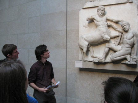 Dallis, Alex Assaf, and KT preparing to present on a portion of the Parthenon Frieze