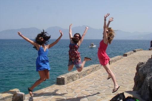 Local tourists (Alexandra, Dallis, and Kathryn H.) are seen jumping for, what appears to be, joy.  Katherine will have more to say about that later.