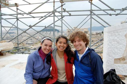 Dallis, Alex, and Alex sit atop the Propylaia.  Literally.  Sitting on top.