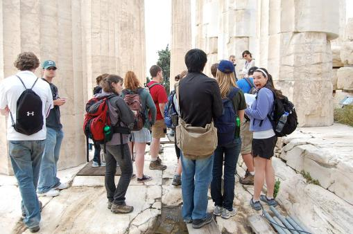 Dallis gets excited at the beginning of our Parthenon tour.