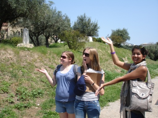 Kate, KT, and Alex M. get excited about the Kerameikos cemetery.