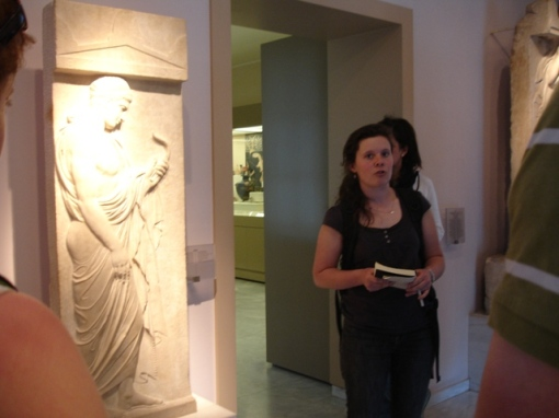 Ally presents a grave stele in the Kerameikos museum.