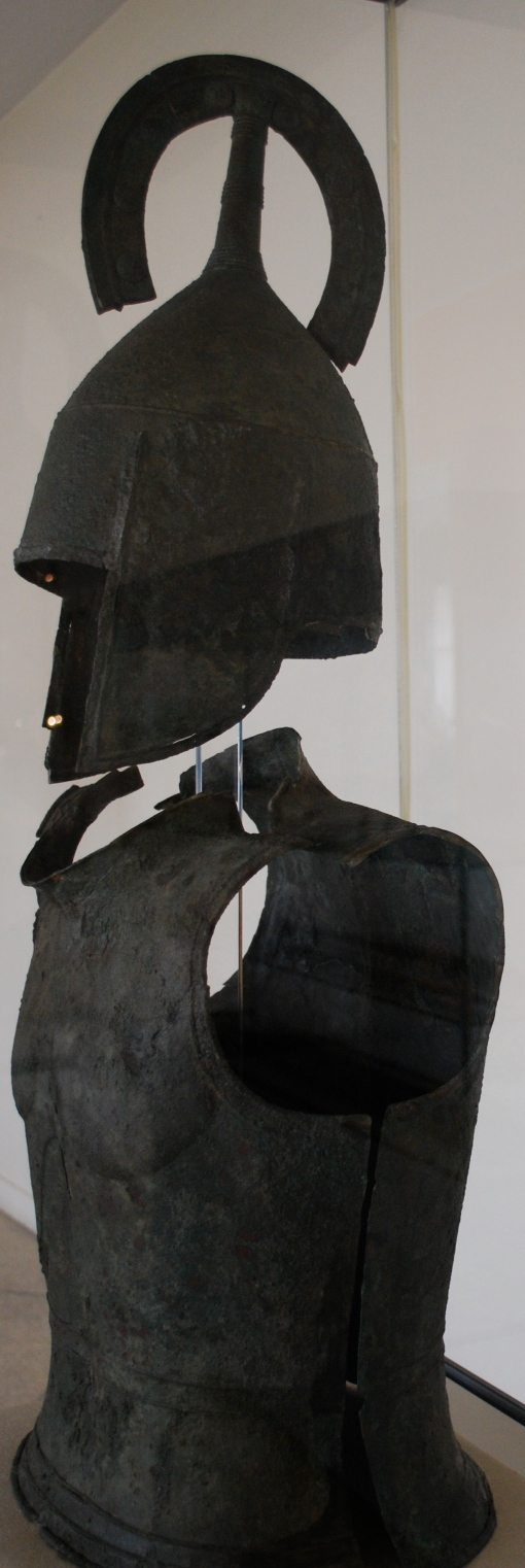 A suit of hoplite armor at the Argos Museum.