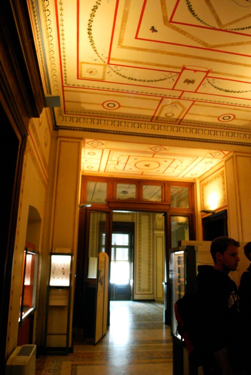 The splendour of Schliemann's mansion/the Numismatic museum, all decked out in Pompeiian third style fresco.