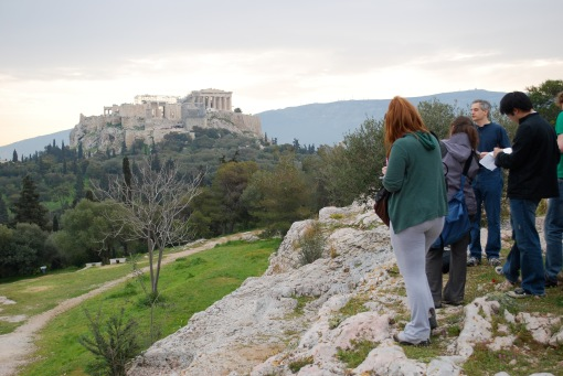Getting our bearings in an early morning Acropolis view lecture.