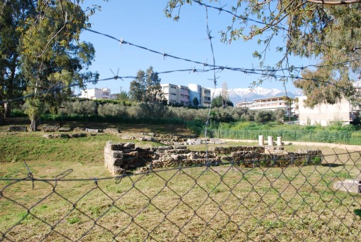 Steel bars wrapped all around the sanctuary of Artemis Orthia.