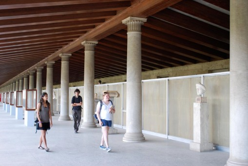 Alex M., Alex A. and Kate explore the upper story of the Stoa of Attalos at the Athenian Agora.