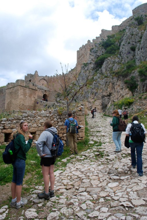 Approaching the well-built gates of Acrocorinth.