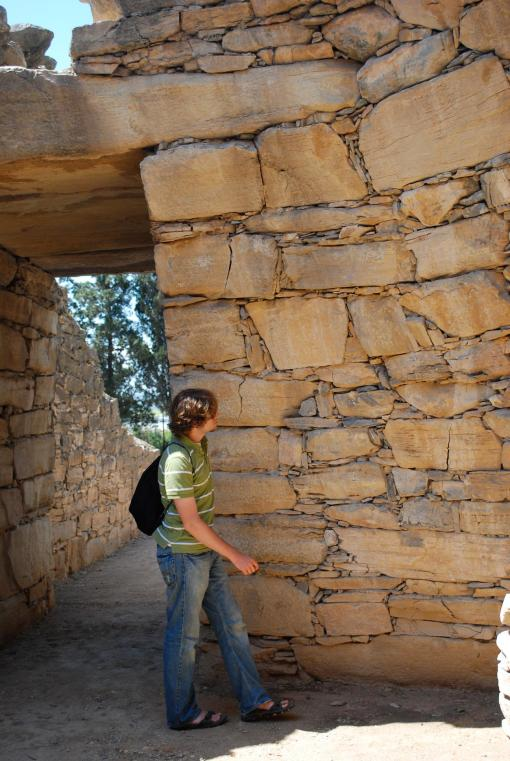 Alex A. examines the masonry techniques in use at Mycenaean Dimini.