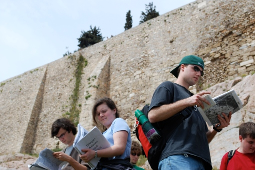 The beloved image packets get some exercise under the looming South wall of the Acropolis.