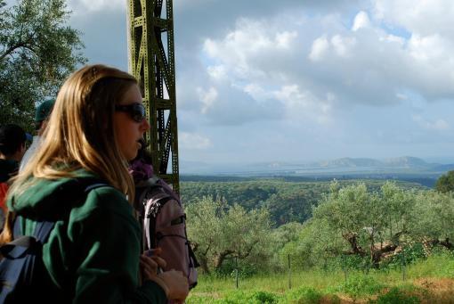 KT enjoys the scenic view of Sphakteria.