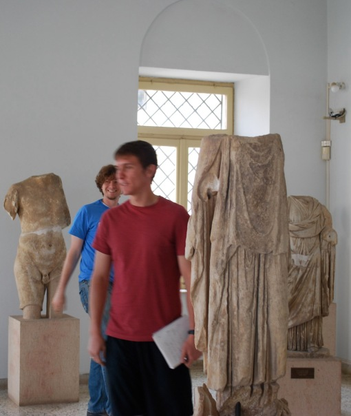 Alex A. and Joe wander amongst some Roman sculpture in the Argos Museum.