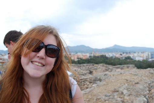 Kait enjoys the sun and fun of the group's first Aegean island at Kolonna.