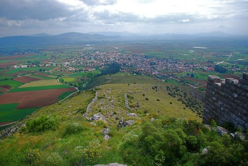 Scenic view of Orchomenos and the Kopaic basin from the heights.