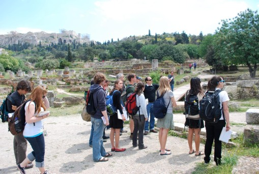 Lecture at the Tholos in the agora, with the Acropolis looming overhead.