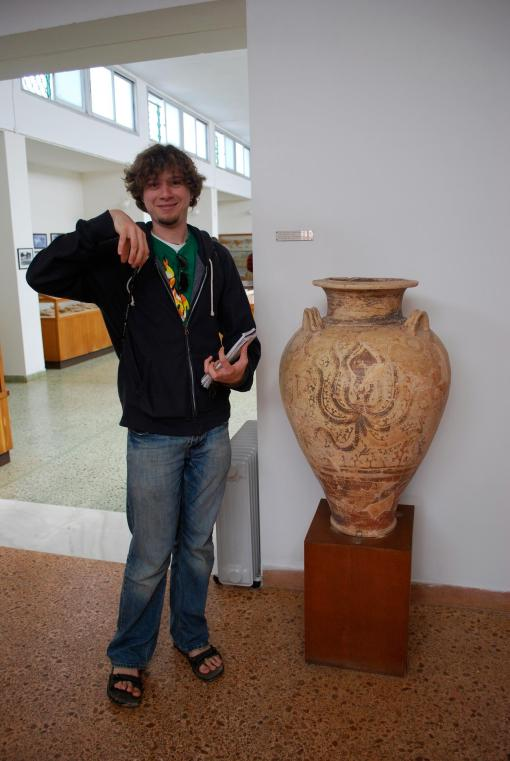 Alex A. demonstrates his best pseudo-Octopus pose with one of the finds from Pylos.