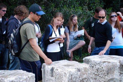 David Scahill explains the history of the temple of Mars in the Agora.