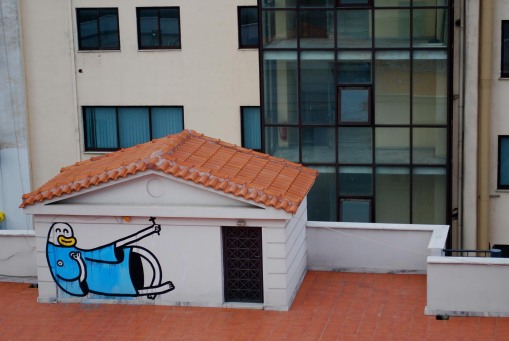 Jaunty graffito provides a welcome morning pick-me-up across from the hotel in Volos.