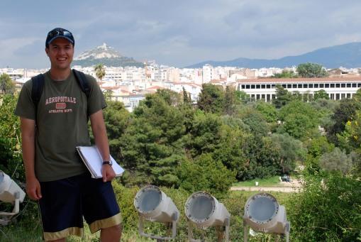 Ben enjoys the vistas of Lykavittos hill and the Stoa of Attalos from the Hephaisteion.