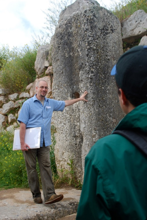 Guest speaker Dr. Ulrich Thaler introduces the group to Tiryns.