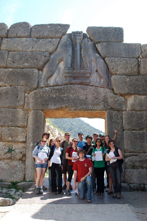 Group in front of the Lion Gate at Mycenae.