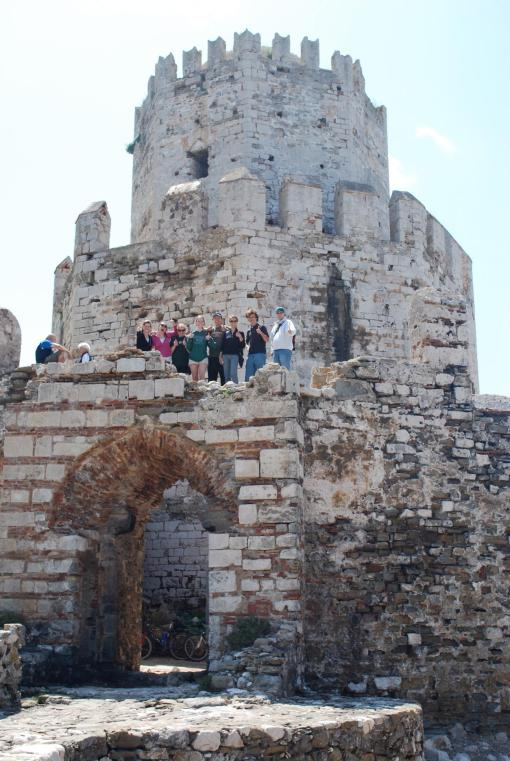 Group on the small fortified island of Bourtzi, part of the Venetian kastro at Methone.