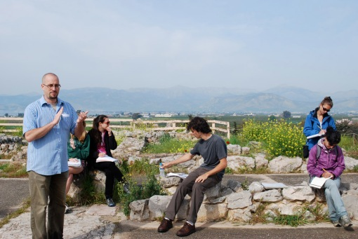 Dr. Thaler instructs us on movement in the megaron at Tiryns.