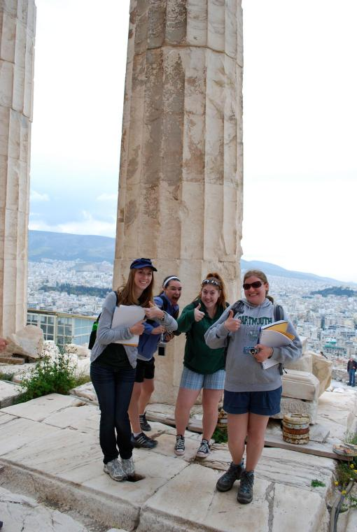 KT, Dallis, Kait, and Kate approve of the Parthenon tour.