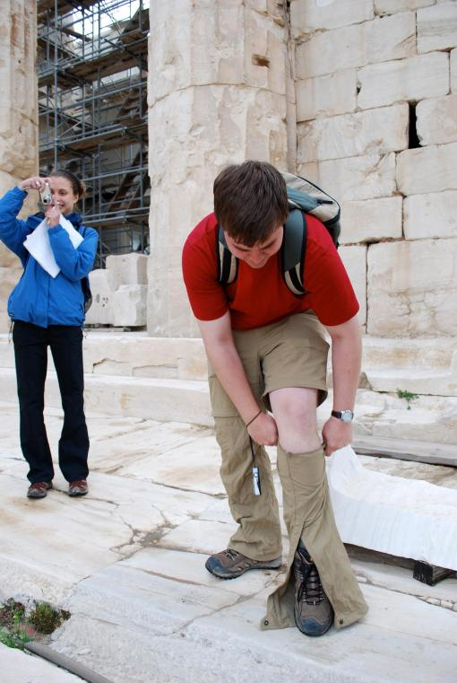 Chilly on top of the Acropolis? It's no problem with Charlie's handy zip-on adventure pants.