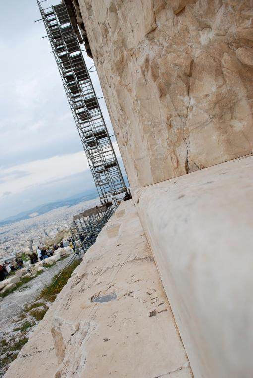 A rare view of the curving Parthenon stylobate.