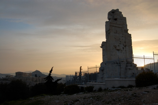 The Philopappos monument towers over the Athenian plain.