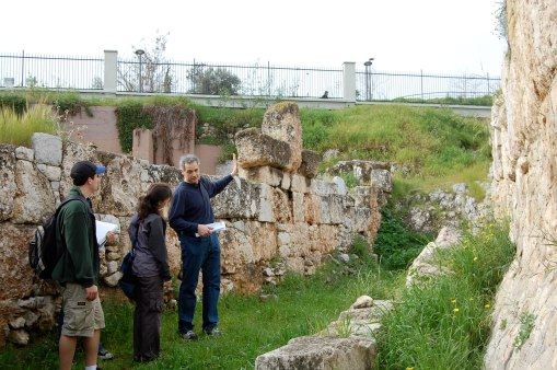 Professor Christesen describes the construction of the Ancient walls in Kerameikos.