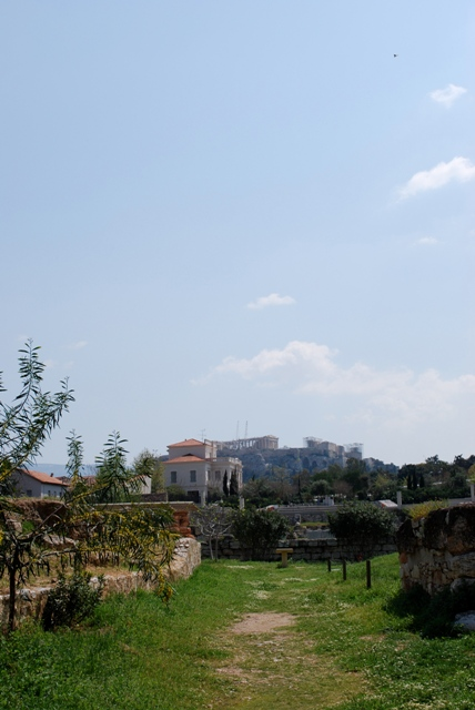 A sunny sky and the view up to the Acropolis from the Kerameikos