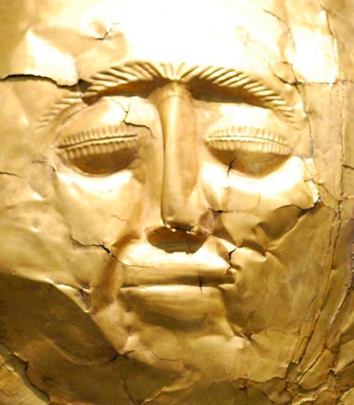A gold Mycenaean death mask from the National Museum.