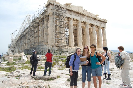 Dallis, Katie and Alex M. get in touch with their inner tourist in front of the Parthenon.