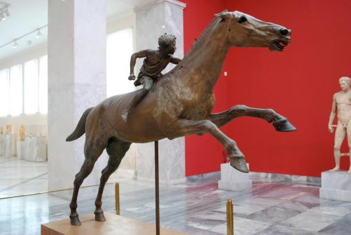 The famous bronze jockey in the National Museum.