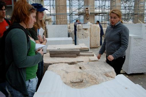Kait and KT learn about the reconstruction process.