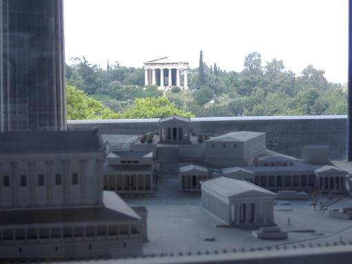 The Hephaisteion looms behind the Agora model.