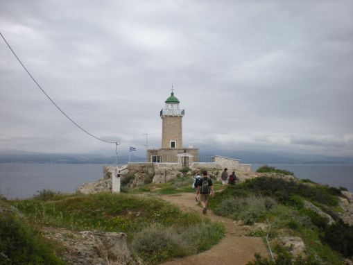 Taking in the fine view of the Corinthian Gulf and Mts. Helikon and Parnassos from the lighthouse at Perachora.
